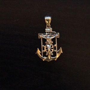 14Kt Two Tone Gold Mariner's Cross